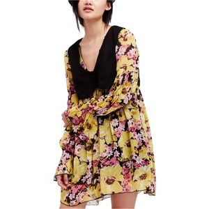 Free People Boho Vested Floral Print Dress, Small